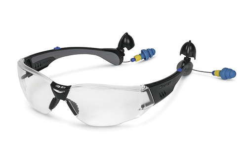 5357d20ba23 Construction Model Safety Glasses with Built-in Ear Plugs (Black Frame)