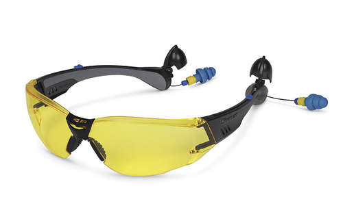 construction model safety glasses with built in ear plugs amber