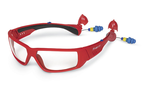 b125694a675 Fashion Model Safety Glasses with Built-in Ear Plugs (Red Frame)