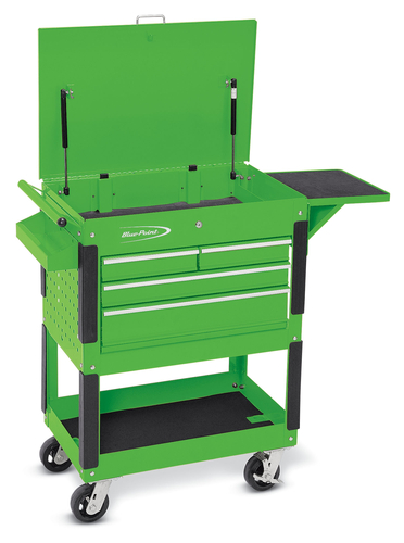 roll cart locking fliptop four locking drawers screwdriver compartment bluepoint