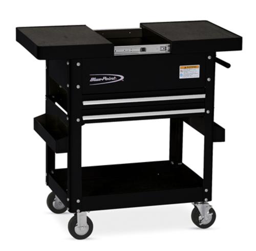 roll cart, sliding top, 2 drawers, gloss black, (blue-point®)