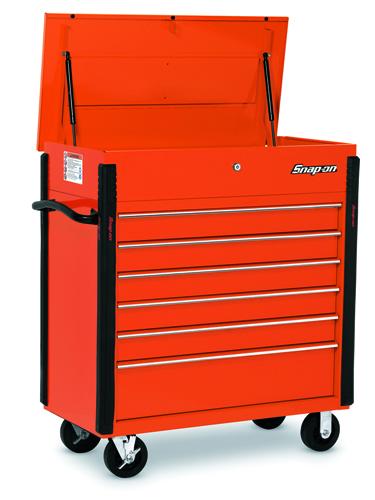"""40"""" 6-drawer roll cart, electric orange"""