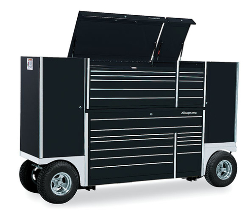 Double Bank Tool Utility Vehicle With Top Chest Gloss Black Stainless Steel Fenders Krt1032cpc1