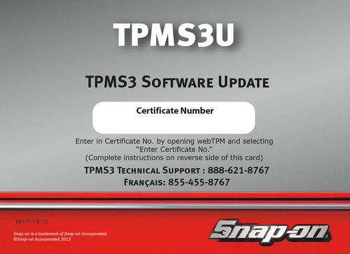 Software Update, TPMS3, 2013